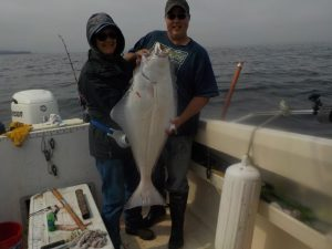 Women catches 50lb Halibut Fishing Port Hardy